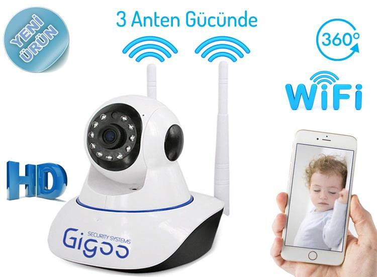 Gigoo HD 360 Derece Hareket Sensörlü IP Bebek ve Güvenlik Kamerası