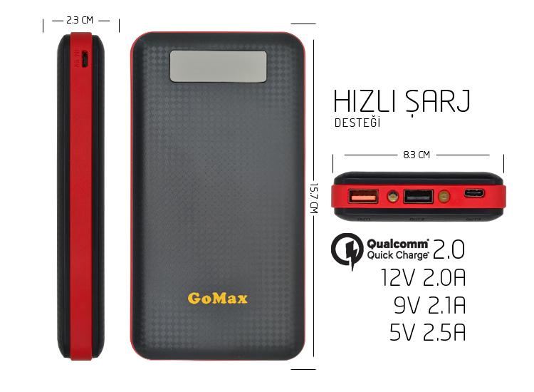 GoMax PowerBank 20000 mAh Harici Hızlı Batarya