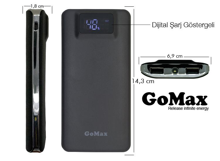 GoMax PowerBank 10000mAh Dijital Şarj Göstergeli Harici Batarya