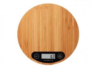 Bambu Yuvarlak Dijital Tartı Mutfak Terazisi 5Kg /1Gr