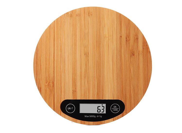 Bambu Yuvarlak Mutfak Terazisi 5Kg /1Gr